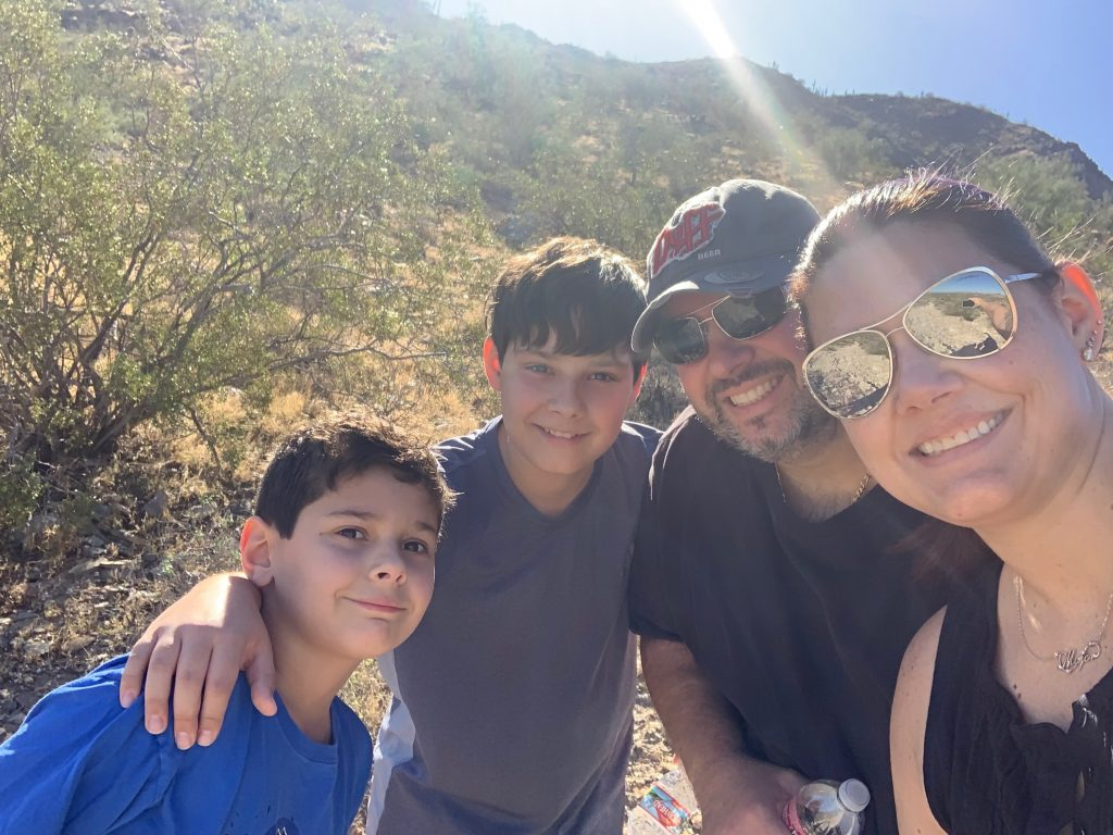 Jennifer Maggiore hiking with family